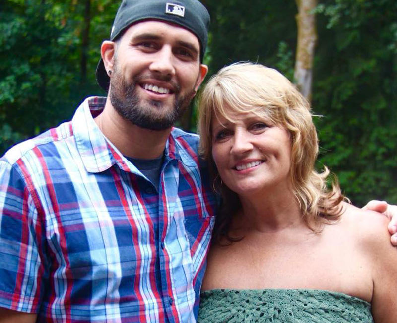 Shannie Jenkins with her son Kyle Brinton who died of a heroin overdose last October in Lacey, Washington. He had struggled with opioid addiction since high school when he tried Oxycontin.