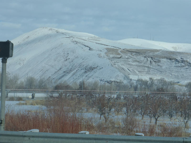 A view of Rattlesnake Ridge from Interstate 82 near the town of Union Gap, Washington. Geologists say fissures in the hillside will likely cause a landslide.