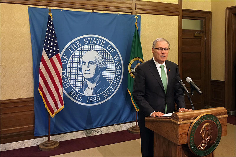 At his weekly news conference Wednesday, Washington Gov. Jay Inslee called on state lawmakers to pass gun control measures.