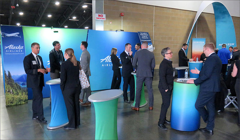 In the midst of a pilot shortage, Alaska/Horizon Air deployed more than 30 staffers to the NW Aviation Trade Show in order to interview or answer questions from as many job seekers as possible.