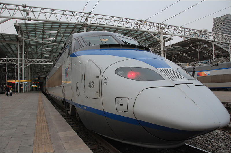 The Washington state Legislature approved further study of bullet train service from Portland to Seattle to Vancouver, BC. This file photo shows a train from South Korea's KTX high speed line.
