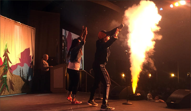 Keegan Heron and friend Kayla Thomas performed 'Everybody' by the Backstreet Boys in front of nearly 500 people for the annual Salish Karaoke Contest, hosted by the Kalispell Indian tribe in Spokane Washington.