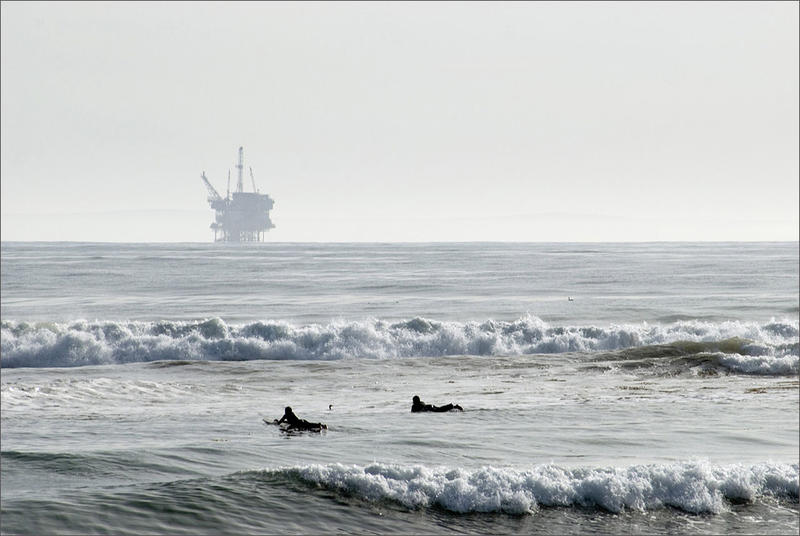 File photo of an oil platform off the coast of Santa Barbara, California. U.S. Secretary of the Interior Ryan Zinke expressed doubt drilling would ever happen along the Pacific Northwest coast.