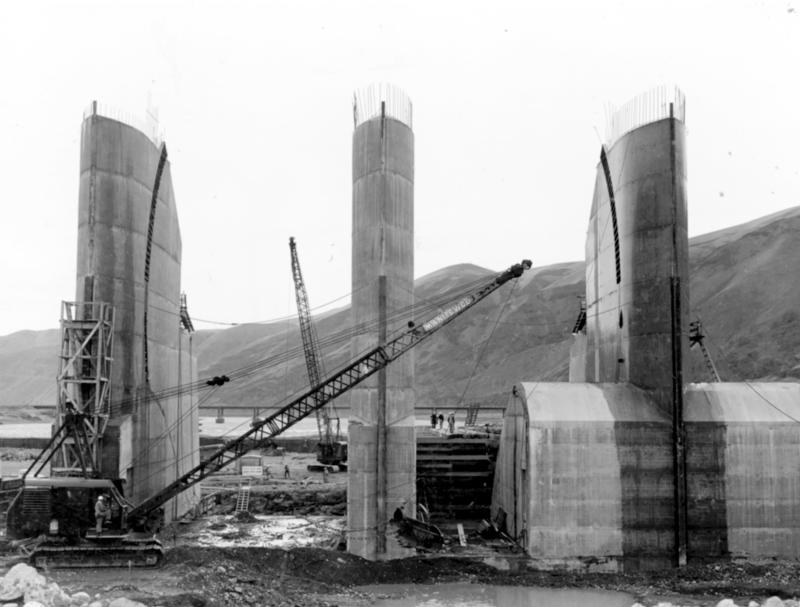 File photo of Priest Rapids Dam during construction in the 1950s. Lift joints are the sections of grout between pours of concrete and steel.