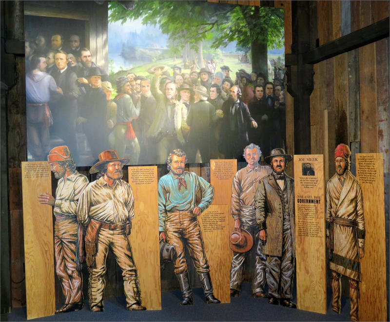 A 1920 painting and newer interpretive displays at Champoeg State Park recreate the historic 1843 vote to establish the first government in the Oregon Territory.