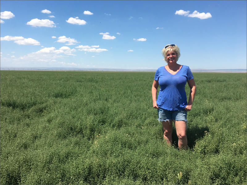 Standing in bluegrass seed field, farmer Nicole Berg says the farm bill's Conservation Reserve Program is critical to the mix of incomes on her family farm.