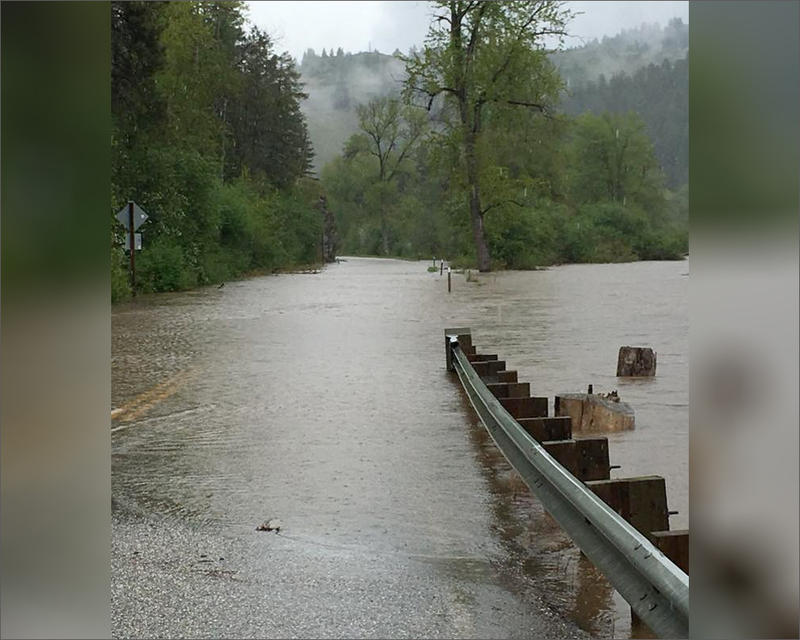 The Kettle River in Ferry County, Washington, seen here at mile marker 185 on Highway 21, has tied a flood record last set in 1948.