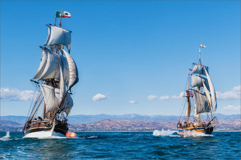 ''Battle Sail'' tours involving the tall ships Lady Washington, left, and Hawaiian Chieftain were to be offered at Newport, Oregon, in July until the port canceled the ships' docking permit.