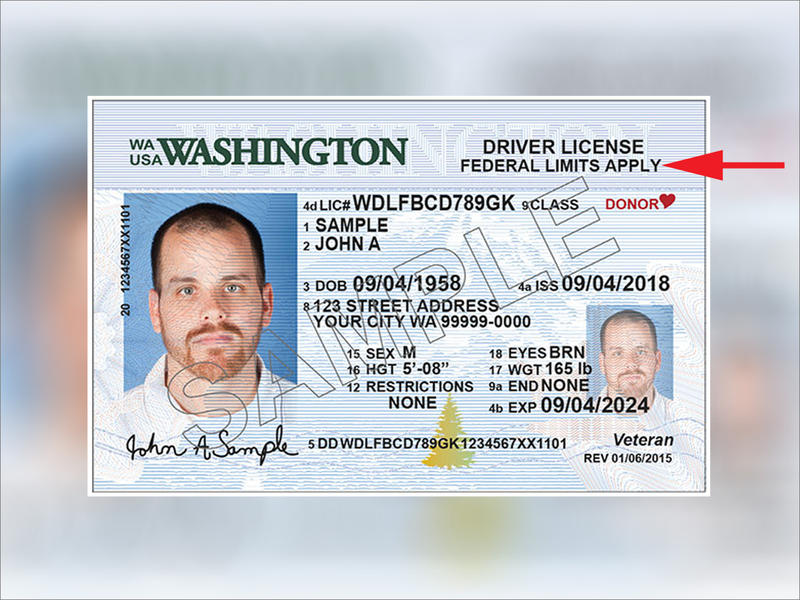 After July 1, standard Washington state driver's licenses will be marked as seen here.