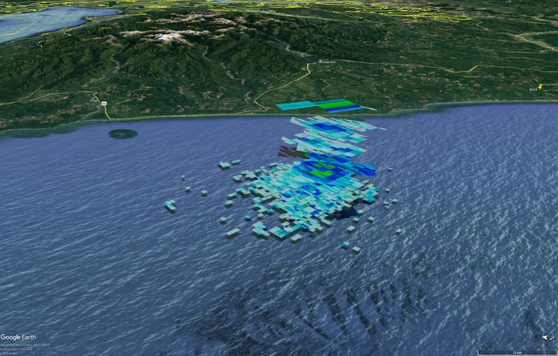 Composite of radar images from three different NOAA radars, showing radar reflections off of falling meteorite fragments along the coast of Washington's Grays Harbor County.