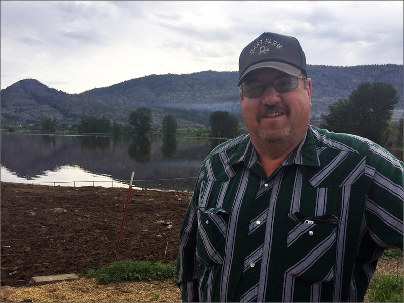 Phil Dart is a fifth-generation rancher in Okanogan County. A hay field he owns on the Okanogan River floodplain is currently underwater.