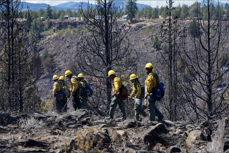 Firefighters work the Graham Fire in central Oregon, which occurred earlier this month.