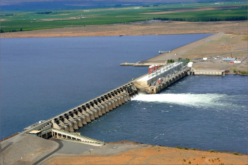 Priest Rapids Dam is located on the Columbia River, 24 miles south of Vantage, Washington.