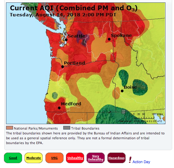 Canada California Map.Fires In Canada California Add To Smoky Haze Over The Northwest