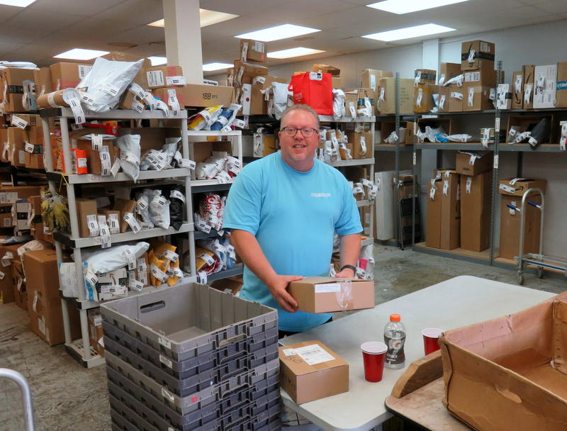 Hagen's of Blaine co-owner Steve Hagen in the receiving room of his busy mailing services business.