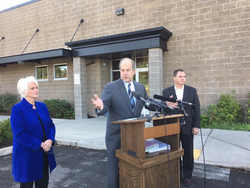 Republican state Sen. Steve O'Ban speaks at a news conference on mental health in Fife on Wednesday.