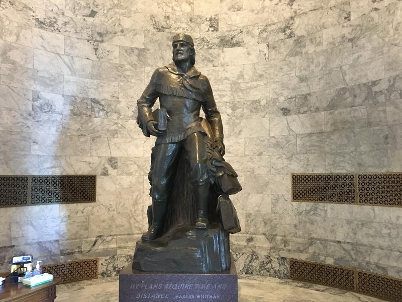A state senator from Seattle wants to replace this statue of Marcus Whitman inside the entrance to the Washington State Capitol -- as well as an identical one in the U.S. Capitol -- with another figure from history.