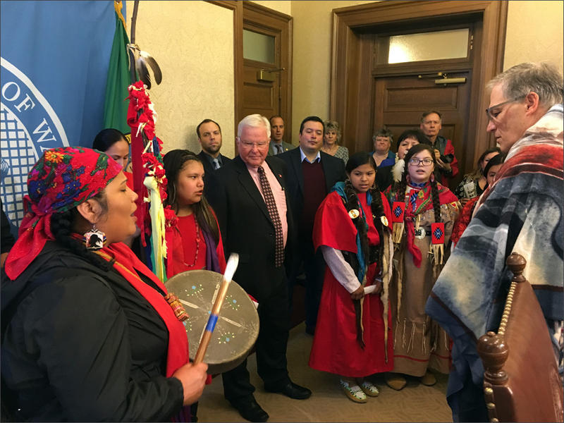 After a 2018 bill signing ceremony in Olympia, women from several local tribes performed a song in honor of the missing and murdered Indigenous women in the U.S. and Canada.