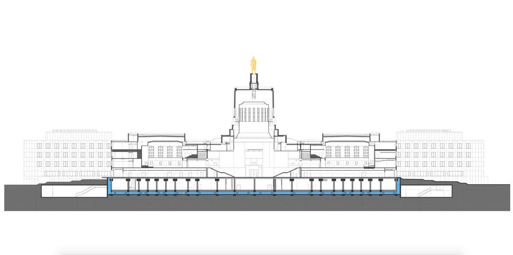 This Image Shows A Cross Section Of The Capitol Building Showing The Base Isolators Along The Lower Level