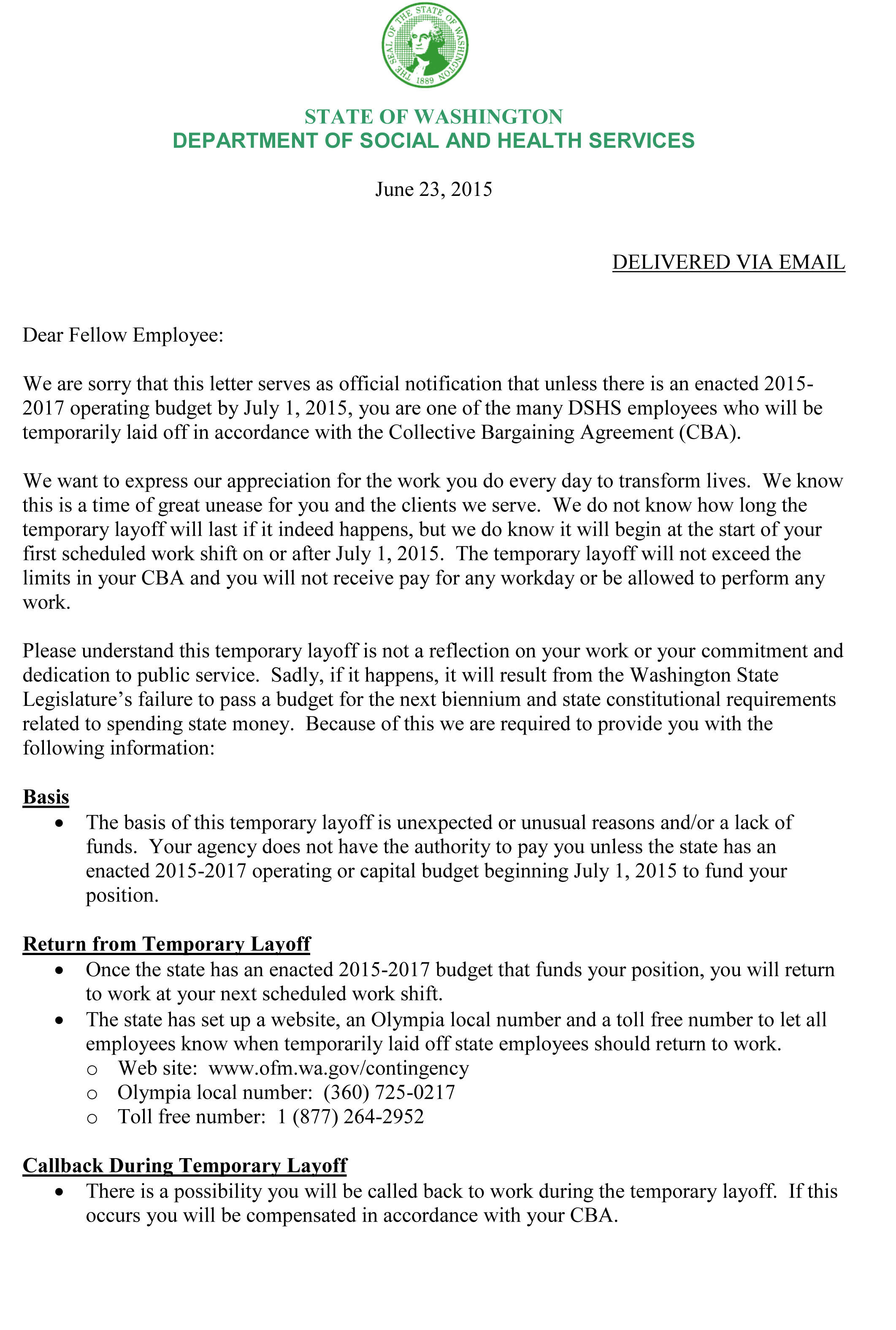 layoff letter to employee