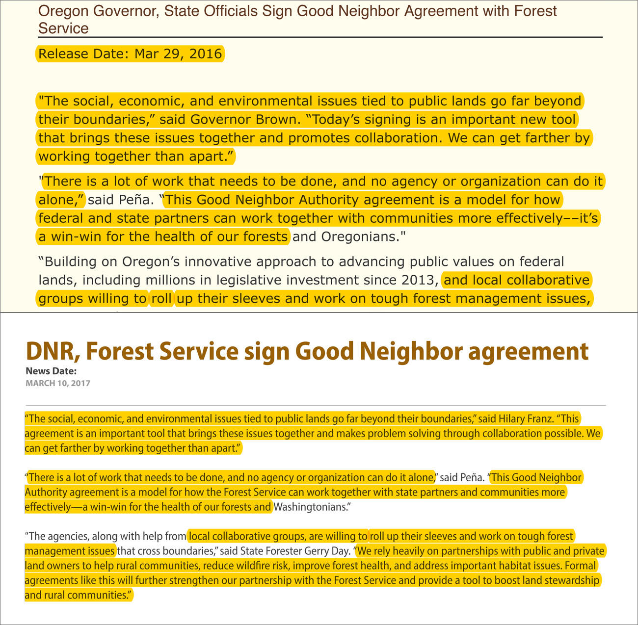 Similar deals identical statements washington oregon sign good oregon top and washington state signed good neighbor agreements with the us forest service one year apart and they had remarkably similar things to say platinumwayz