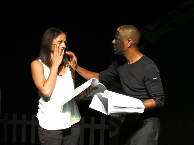 "Lara Babalola, playing Melody, and Ernest Allan Hausmann, Jim Crow, read a scene from ""2Neighbors"" at The Lab."