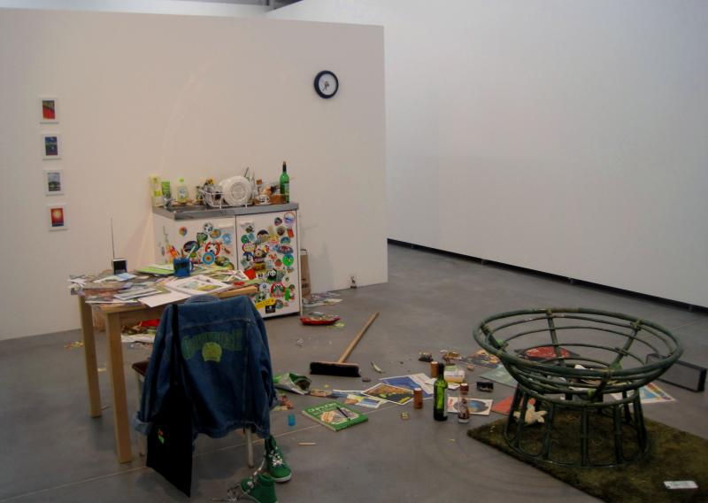 """Dutch artist Sharon Houkema collected donations from environmental organizations and purchased items from so called """"green stores"""" to create one of this piece."""