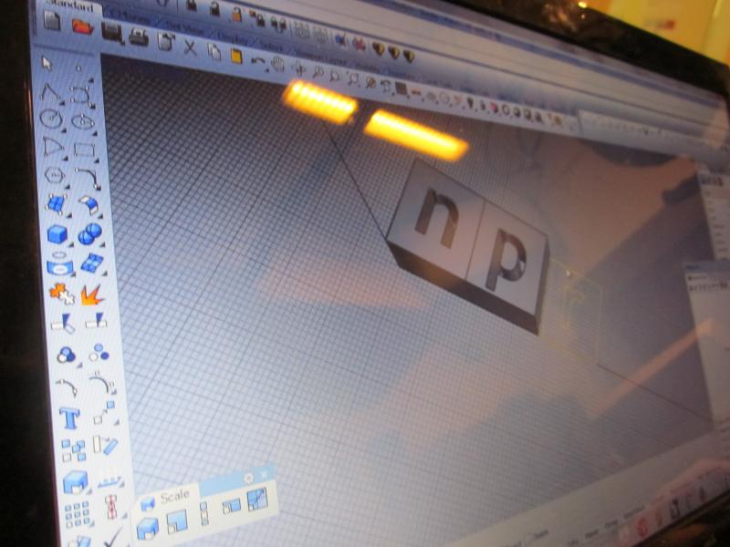 Owner Jeschnonnek converts the NPR logo into 3-D with special software.