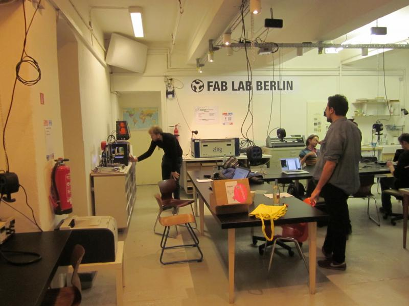 The entire FabLab team is at work in their Mitte offices. Left from the center is Wolf Jeschonnek, the owner of FabLab.
