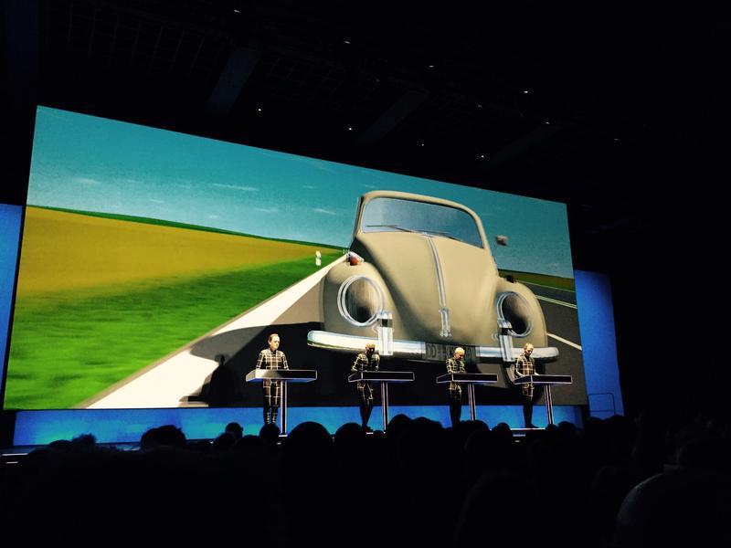 Projected visuals accompanying Kraftwerk's performance