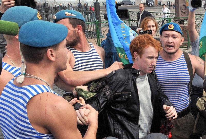 Russian paratroopers scuffle with gay right activist Kirill Kalugin