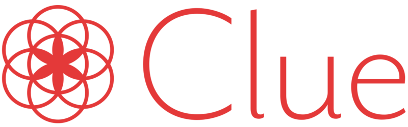 The Clue App logo. Clue is a smart phone application that tracks a woman's menstrual cycle.