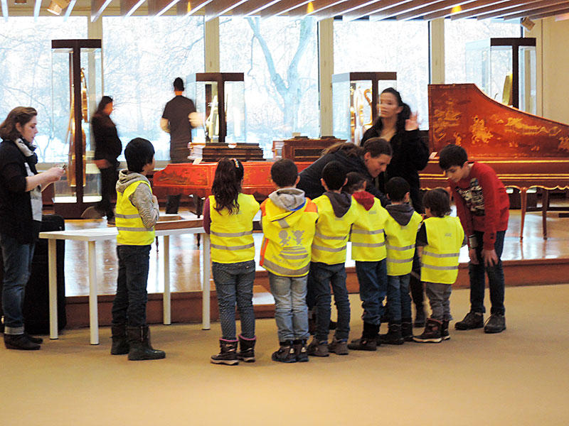 Kids at the Musical Instrument Museum in Berlin, Germany.