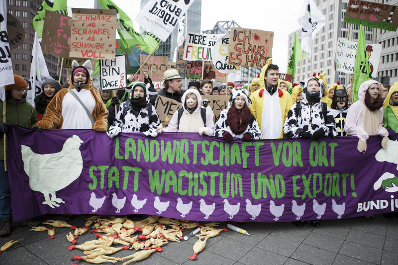 Farmers protest against corporate agriculture and TTIP free trade agreement between the EU and the US at Postdamer Platz on January 16, 2016. Germany has a long tradition of family farms and many see them threatened by large-scale agro-businesses.