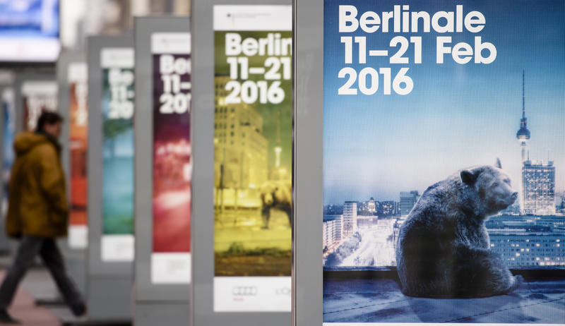 Posters advertising the 66th Berlinale film festival in Berlin, Germany.