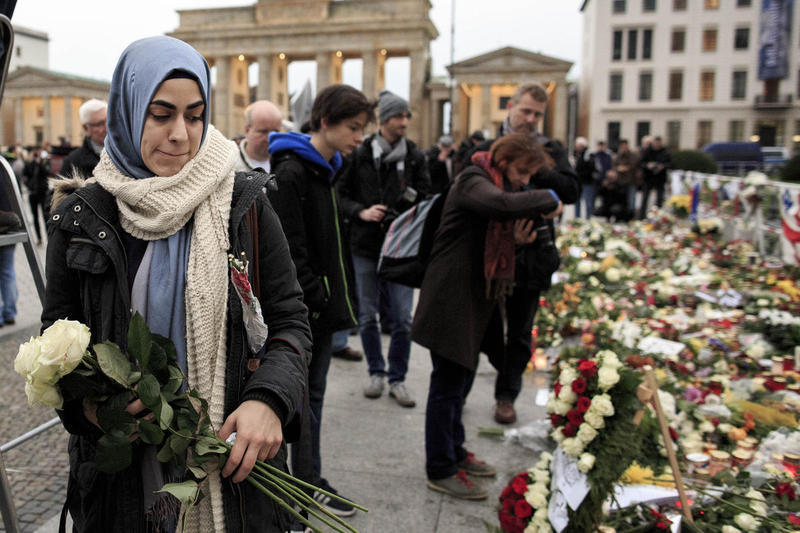 Muslims protest in Berlin against the terrorist attack in Paris.