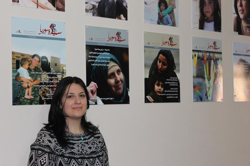 """Cofounder Yasmine Merei of the Syrian women's magazine """"Saiedet Souria."""""""