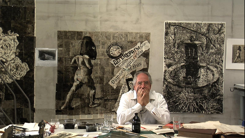 """A photo of William Kentridge from one of his """"Drawing Lessons"""" videos."""
