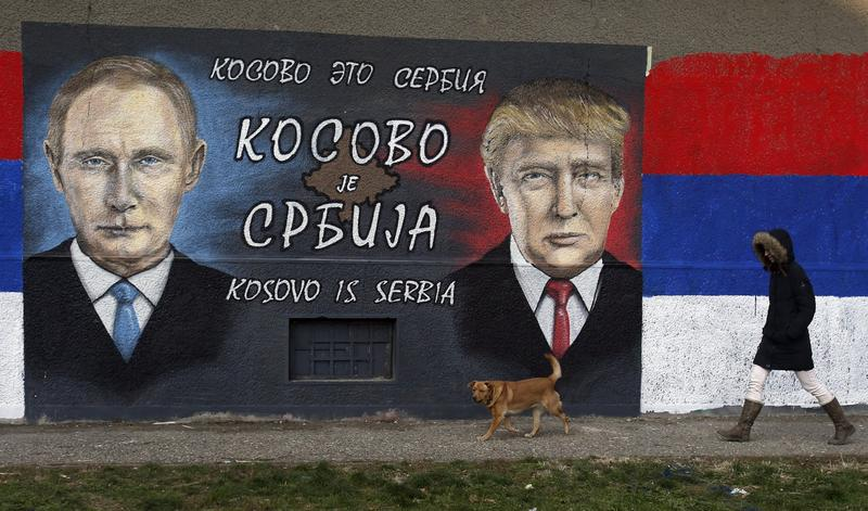 A mural depicting Russian President Vladimir Putin and US President-elect Donald Trump.Courtesy of America Abroad Media