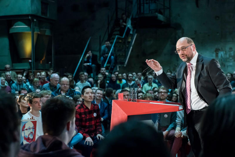 Martin Schulz, chancellor candidate of the German Social Democrats (SPD), speaks at a campaign event on February 27, 2017 in Leipzig, Germany.