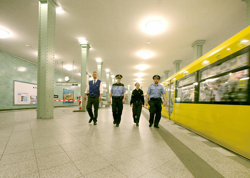 Berlin Police and BVG Security Staff patrol the U-Bahn to ensure the safety of passengers.