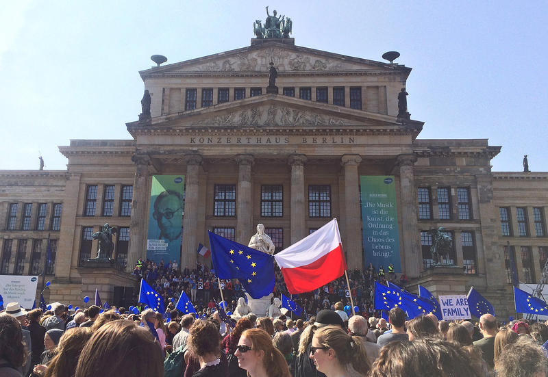 Pro-European Union demonstrators gather peacefully at Gendarmenmarkt in Berlin, Germany.