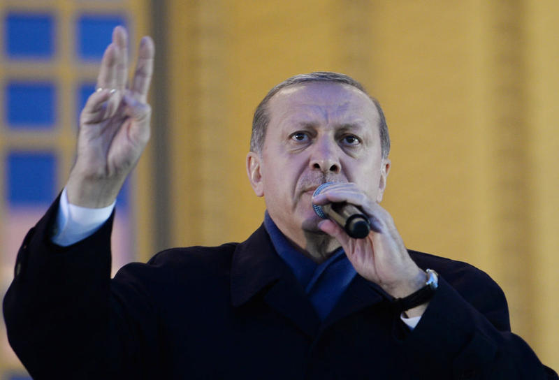 Turkish President Tayyip Erdogan holds a referendum victory speech to his supporters at the Presidential Palace on April 17, 2017 in Ankara Turkey. He declared victory in the historic referendum, the most radical change to the country's political system