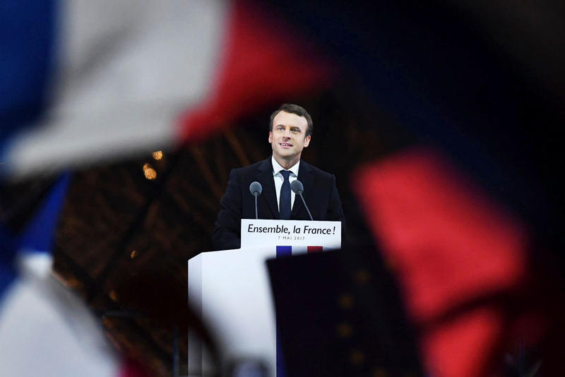 Leader of 'En Marche !' Emmanuel Macron addresses supporters after winning the French Presidential Election, at The Louvre. Pro-EU centrist Macron is the next president of France, defeating far right rival Marine Le Pen by a comfortable margin.