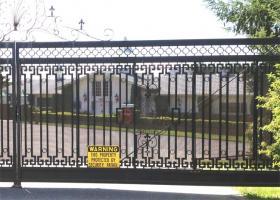 The gate to Ramtha's School of Enlightenment, Yelm, Washington.