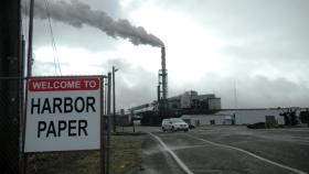 Steam once again pours out of the stack at the once shuttered paper mill In Hoquiam, Wash.
