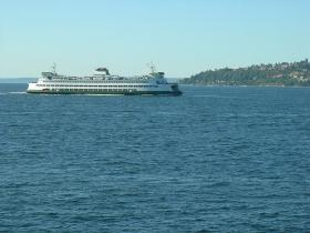 Photo of a Washington State ferry in the Puget Sound.