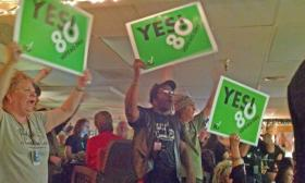 Supporters of Oregon's Measure 80 gathered on election night at the World Famous Cannabis Café in Portland.