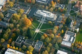 An aerial view of the Memorial Union at Oregon State University. OSU has seen a nearly 6 percent increase in enrollment.