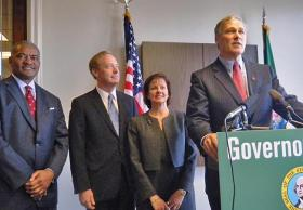 Governor-elect Jay Inslee at a news conference in Seattle to announce his transition co-chairs.